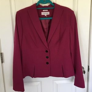 CALVIN KLEIN Stretch Magenta Pleated Blazer